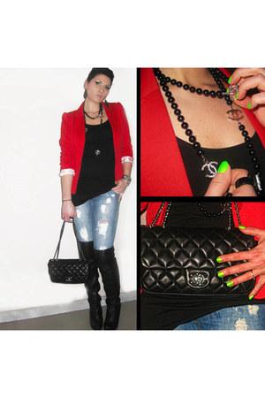 Topshop boots - H&M dress - Kiabi jeans - H&M blazer - Chanel bag