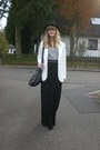 White-h-m-blazer-heather-gray-h-m-shirt-black-h-m-skirt
