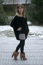 dark brown H&M boots - black H&M cardigan - black H&M skirt