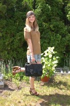 bronze H&M shirt - black Zara bag - blue H&M shorts - brown Deichmann wedges