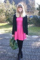 hot pink Zara dress - black H&M jacket - dark green H&M bag