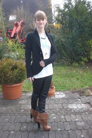 black H&M pants - black H&M cardigan - white H&M shirt - brown H&M shoes