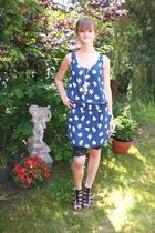 blue Zara dress - black H&M shoes
