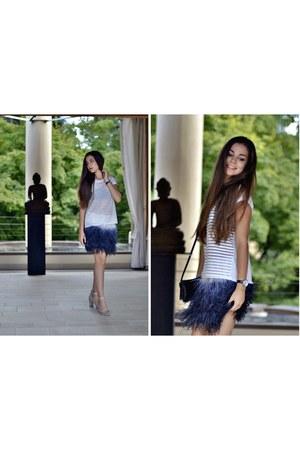 navy feathers Zara skirt - silver silver Zara heels