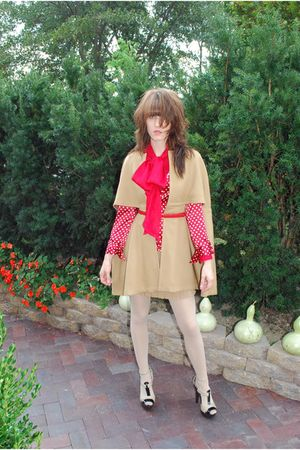 beige house jacket - red vintage Lord & Taylor blouse - red Anxiety shirt - beig