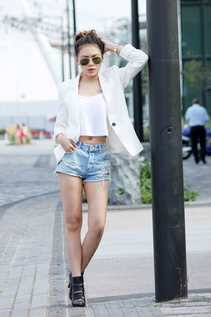 white Mango blazer - black new look boots - light blue Miss Selfridge shorts