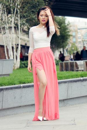 pink Zara skirt - white H&M top