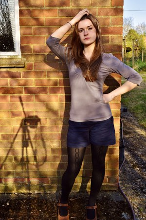 light purple cotton next blouse - dark gray tights - navy Gap shorts