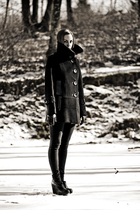black Mackage coat - black BDG jeans - black Jeffrey Campbell shoes