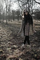 green Diesel jacket - beige vintage dress - black DKNY tights - brown Michael Ko