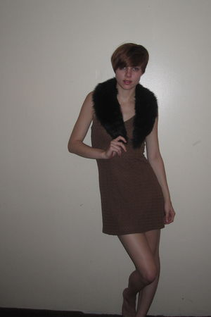 brown vintage dress - black vintage scarf