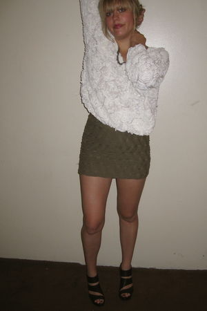 white American Apparel top - green H&M skirt - black Jeffery Campbell shoes