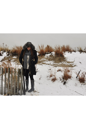 black Hunter boots - black American Apparel leggings - beige Anthropologie blous