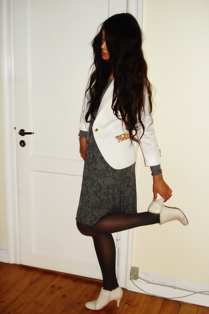 white Zara  DIY studded blazer - gray H&M dress - white Din Sko boots