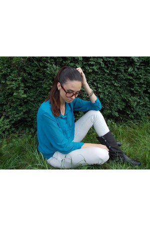 black random brand boots - ivory New Yorker jeans - turquoise blue SH shirt