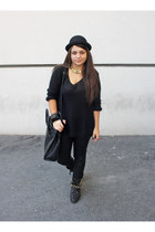 studded Zara boots - H&M hat - wool H&M sweater - leather reserved bag
