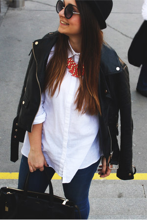 Pimkie necklace - white Zara shirt - Furla bag - black asos sunglasses