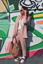 light pink rose quartz Zara suit - white Zara sneakers