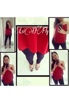 navy jeggings unknown brand leggings - red croppedlayered Crush top