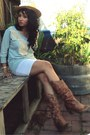 Brown-aldo-boots-light-yellow-straw-hat-no-brand-hat-white-cotton-love-skirt