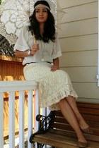 light brown flats Forever 21 shoes - white Forever 21 shirt - ivory parasol Batt