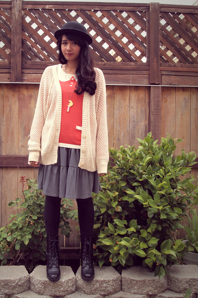 off white knit Roxy cardigan - black rubber heels Wet Seal boots