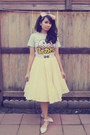 Light-yellow-homemade-skirt-gray-nintendo-t-shirt