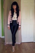 light pink cropped jacket hello kitty jacket - cream Celine blouse
