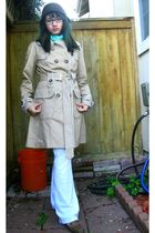 brown Icings hat - blue Icings scarf - beige XOXO jacket - white pants - brown s
