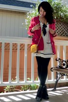 black  boots - white  dress - ruby red zenana outfitters coat - black calvin kle