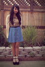 Blue-circle-skirt-american-rag-cie-skirt-beige-rock-steady-blouse