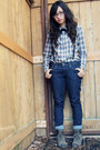 Bowtie-found-tie-ankle-boots-nine-west-shoes-levis-jeans-shirt