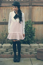 White-maxx-blouse-light-pink-black-bow-miss-selfridge-dress-black-diy-socks