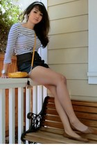 white striped French Connection shirt - mustard small purse Michael Kors bag - n