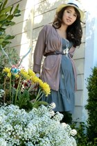 heather gray mossimo supply co dress - puce cotton Pleione cardigan - brown Fore