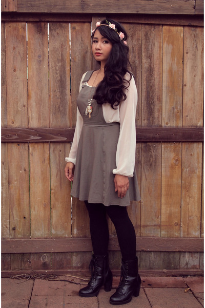 army green pinafore cotton asos jumper - black lace up boots Wet Seal boots