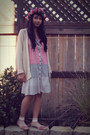 Light-pink-cotton-wet-seal-dress-cream-knit-roxy-cardigan