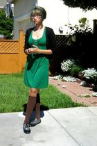 black accessories - black cardigan - green Forever 21 dress - brown stockings -
