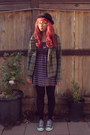 Deep-purple-full-tilt-dress-forest-green-cotton-plaid-la-kitty-jacket