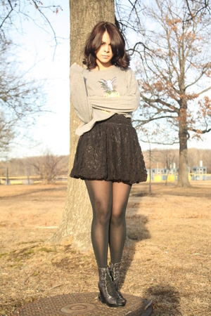 gray Topshop sweater - black H&M skirt - black Jeffrey Campbell shoes