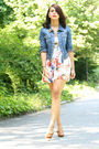White-zara-dress-beige-prada-shoes-blue-bdg-jacket