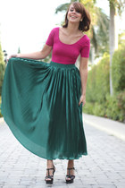 green American Apparel skirt - black YSL shoes - magenta American Apparel top