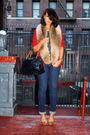 Red-vintage-blazer-brown-h-m-scarf-beige-pour-la-victoire-shoes-blue-marc-