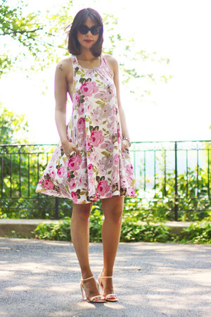 bubble gum floral asos dress - ivory patent leather Zara sandals