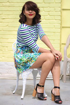 white striped Zara top - teal floral Zara skirt - black Robert Clergerie sandals