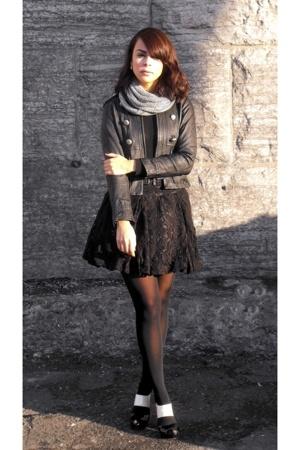 Bebe jacket - Victorias Secret shirt - H&M skirt - American Apparel scarf - DKNY