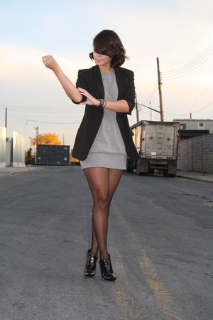 Norma Kamali blazer - Express dress - American Apparel tights - Louis Vuitton bo