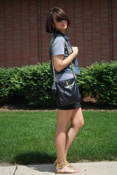 American Apparel t-shirt - Zara vest - American Apparel skirt - Marc Jacobs purs