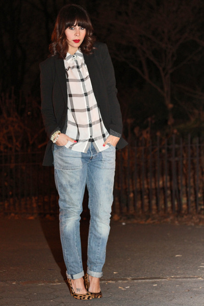 madewell heels - Levis jeans - Norma Kamali blazer - madewell shirt