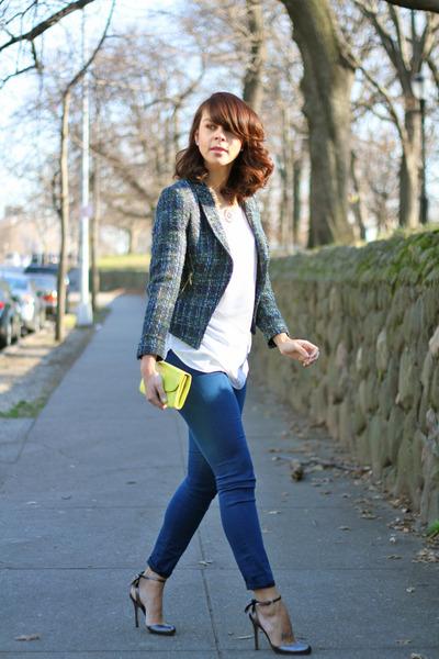 teal tweed Zara jacket - lime green clutch HOBO purse - teal Gap pants